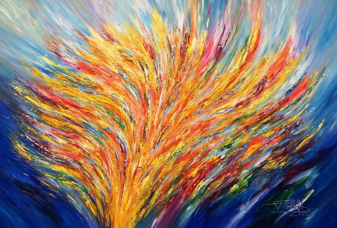 Abstraktes, modernes Gemälde. Original in Acrylfarben auf Leinwand. Blau und Gelb