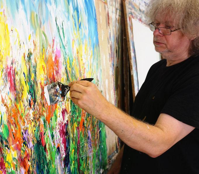 Momentaufnahme während des Malens