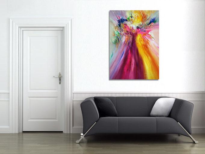 ..so wirkt das aufgehängte Gemälde  an der Wand