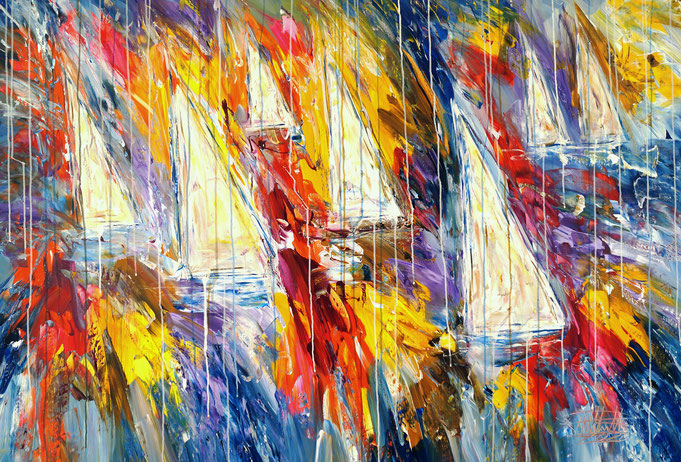 maritimes Gemälde, Segelboot, blau, moderne Kunst,  fertig auf einen Keilrahmen gespannt.