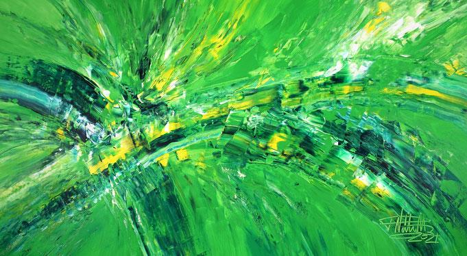 grünes Acrylgemälde