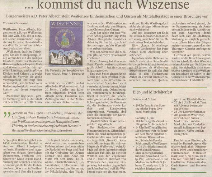 Weissensee, Mittelalterstadt , Thüringen, Stadtgeschichte Broschüre, Runneburg, Sagenweg, Hl. Elisabeth, Rathaus, Reinheitsgebot,