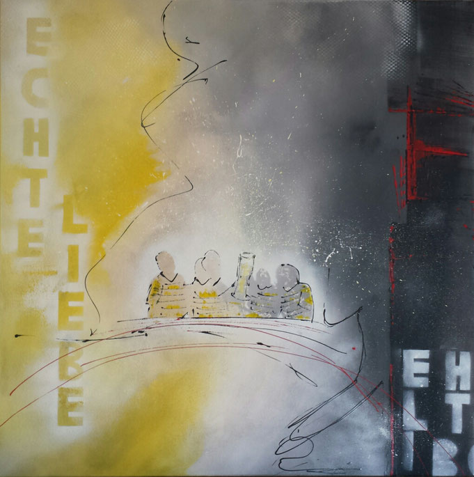 Herz trifft Schwarz-Gelb - 100 x 100cm Acryl / Quarzsand auf Leinwand - verkauft