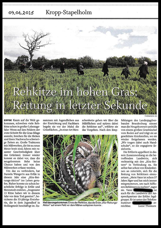 Am 09.06.2015 erschien in der Schleswig-Holstein Zeitung ein Artikel über unsere Kitz-Suche.