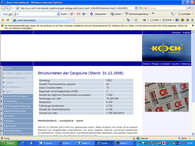 Homepage der Spedition KOCH am 12.5.09 um 23:46 Uhr mit Strukturdaten