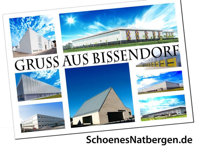 Postkarte vom Bissendorfer Rathaus umgeben von Gewerbebauten