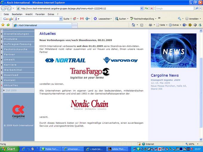 Homepage der Spedition KOCH v. 12.5.09 um 23:57 Uhr mit Werbung für Fahrten Richtung Norden