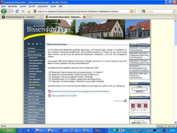 """Menüpunkt """"Bekanntmachungen"""" der Gemeinde Bissendorf auf ihrer Homepage am 25.3.11, während der Auslegung des Flächennutzungsplanes OHNE Hinweis darauf"""