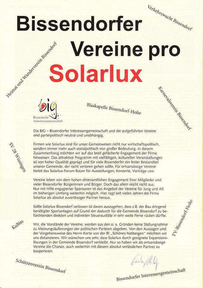 """ganzseitige Anzeige im """"Bissendorfer Blickpunkt"""" vom März 2013"""