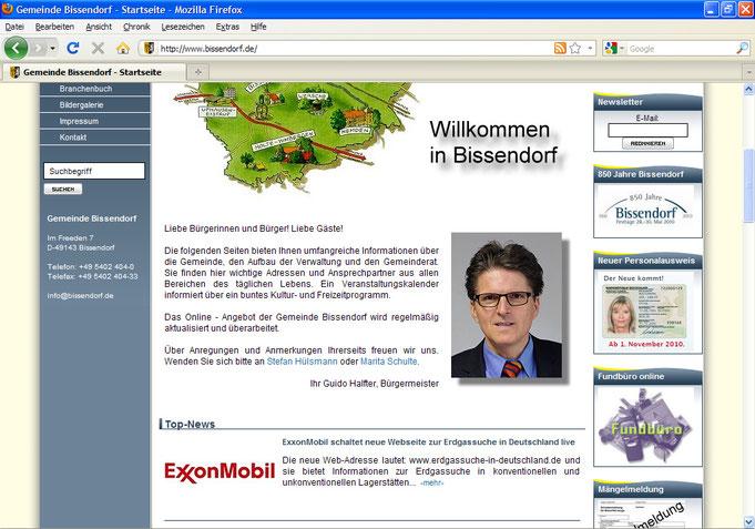 Startseite der Homepage der Gemeinde Bissendorf am 21.2.11 mit Werbung der Fa. Exxon