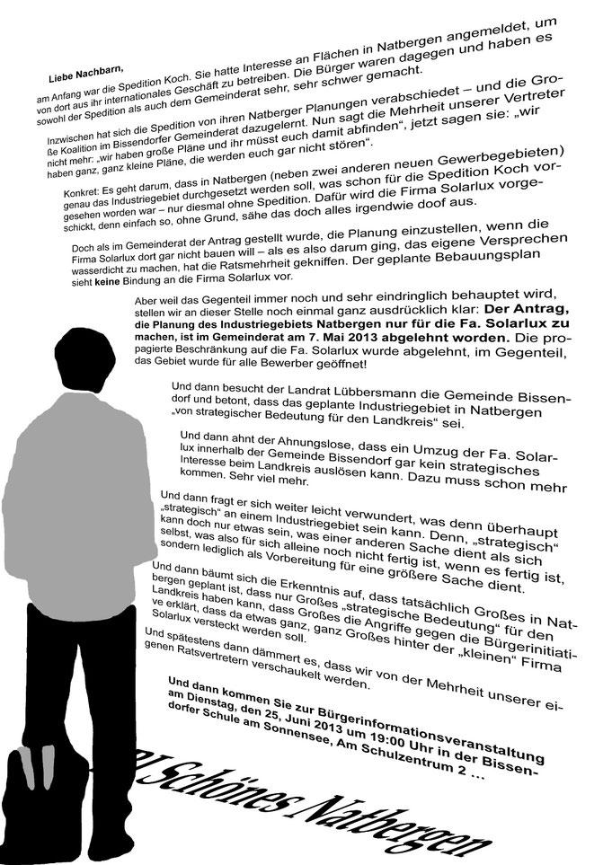 Flugblatt der BI zur Bürgerinformationsveranstaltung am 25.6.2013