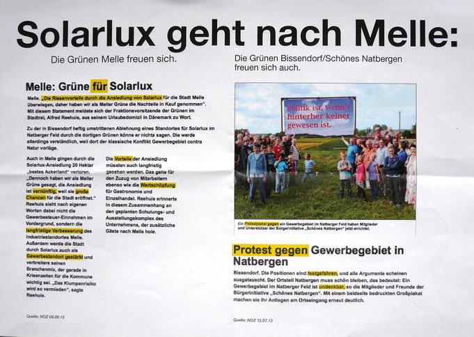 Flugblatt ohne Herausgeber / Autor (CDU-Bissendorf) vom August 2013, das angeblich Schadenfreude bei uns (BI Schönes Natbergen) und den Bissendorfer Grünen über den Umzug der Fa. SOLARLUX nach Melle dokumentieren soll