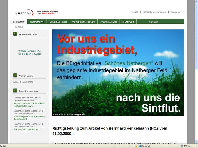 Unsere alte Homepage der BI vom März 2009