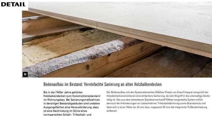Presseveroffentlichungen Holzbalkendecke Sanieren
