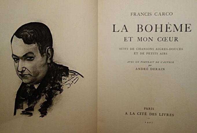 livre rare ancien, Francis Carco, La Bohème et mon coeur