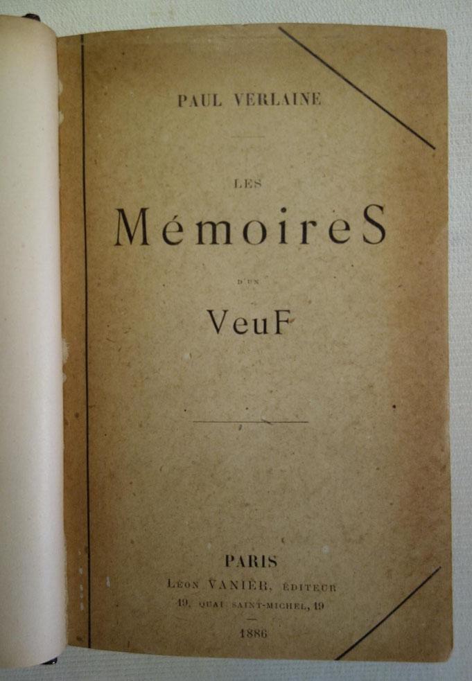 Paul Verlaine, Mémoires d'un Veuf, livre rare, édition originale
