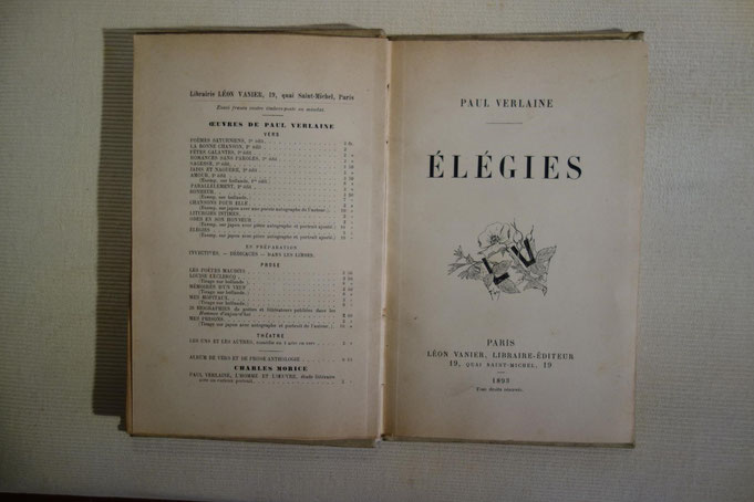 Paul Verlaine, Elégies, livre rare, édition originale