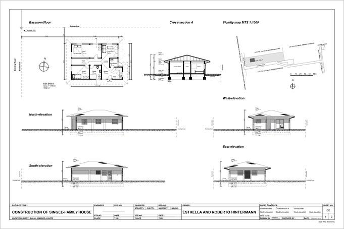 gezeichneter plan mit Grundriss und verschiedenen Hausansichten