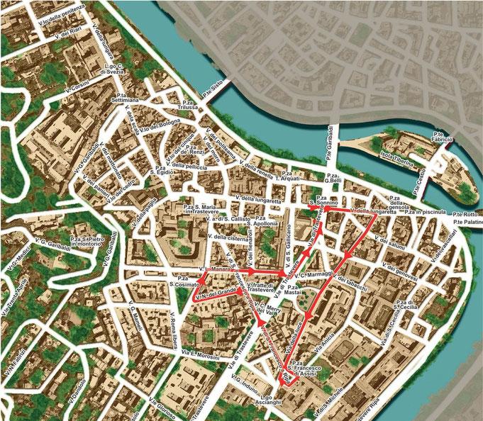Mappa del percorso della processione del Sabato
