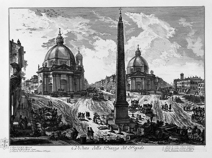 Veduta della Piazza in un disegno di Giambattista Piranesi