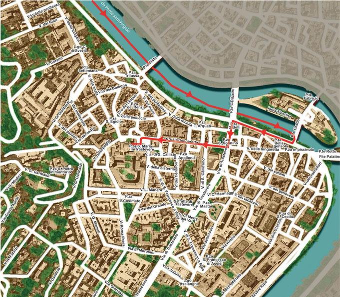 Mappa del percorso della processione della Domenica