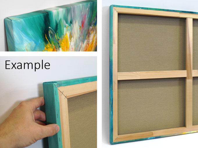 Beispiel einer Gemälderückseite: dIe Leinwand ist auf einem 4 cm - Keilrahmen aufgespannt und rückseitig getackert.