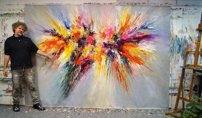 """Peter Nottrott mit """"Magnificent Anthracite XXXL 1"""",  extragroßes Acrylgemälde auf Leinwand, 290 cm x 200 cm"""