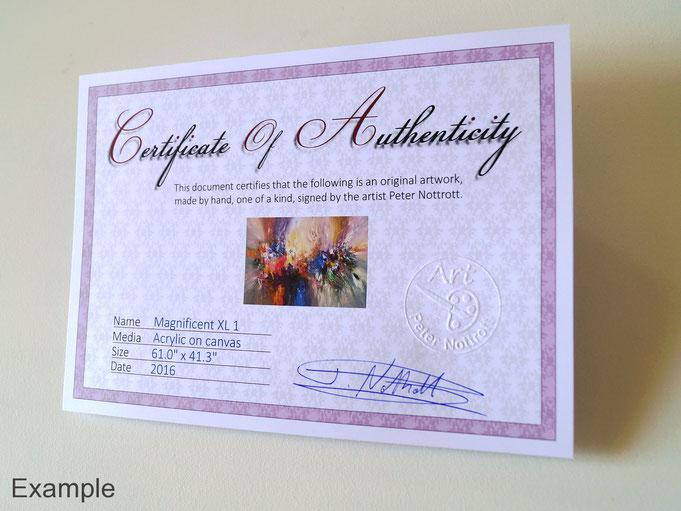 Beispiel eines signierten Echtheitszertifikats, das sich auf der Rückseite des Bildes befindet