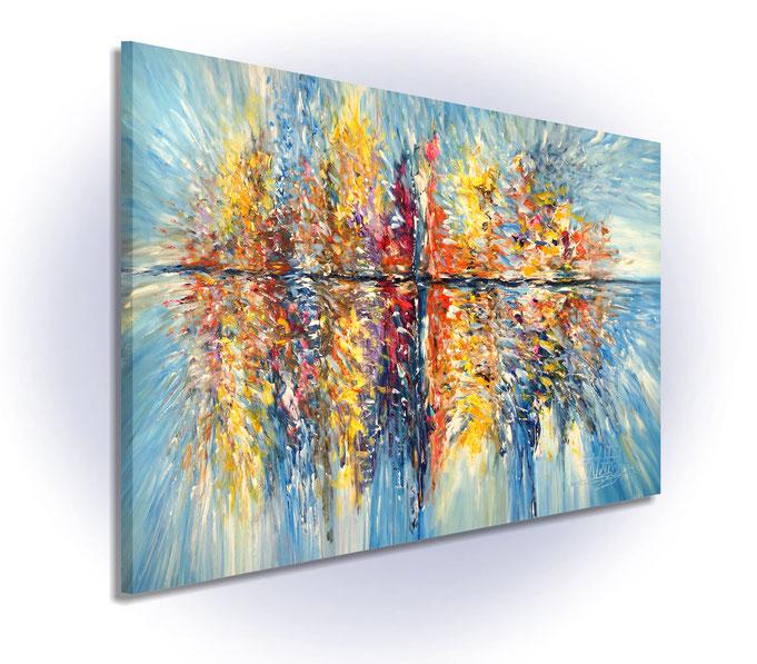Schräge Gesamtansicht.  Da die Gemäldeseiten mitbemalt sind, ist kein weiterer Rahmen erforderlich.