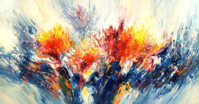 extrem großes, abstraktes Gemälde, blau bunt