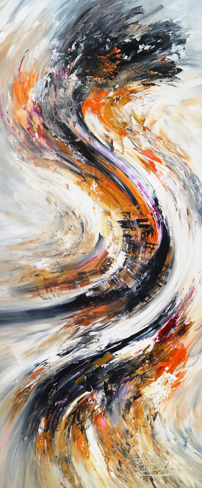 großes, abstraktes Gemälde. Modernes, elegantes Gemäldeformat
