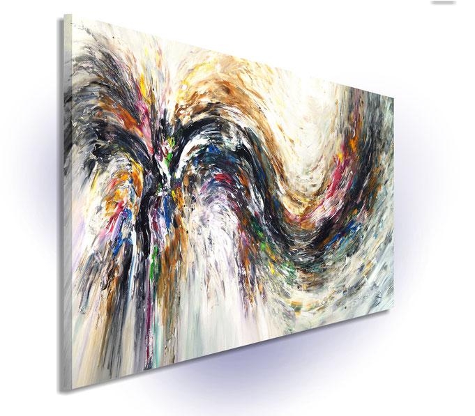 Schräge Gesamtansicht  Da die Gemäldeseiten mitbemalt sind, ist kein weiterer Rahmen erforderlich.