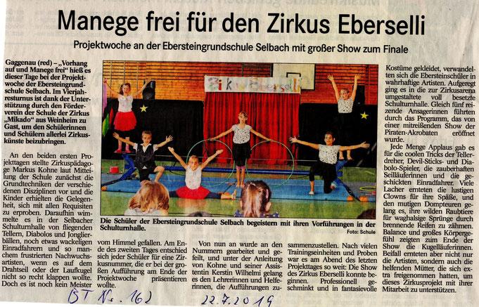 Zeitungsbericht aus dem BT vom 22.07.2019 über unser Zirkusprojekt