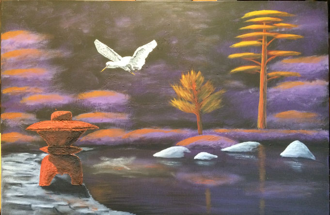 Japanese Garden 91cm x 61cm Acrylic on canvas $250 (excluding freight)