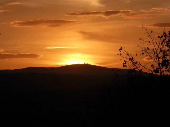 Sonnenuntergang zum Herbstbeginn 2018, vom Königstein bei Westerhausen aus gesehen