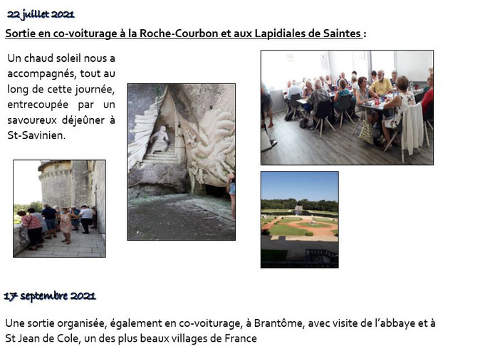 ORDA sortie à la Roche Courbon et aux Lapidiales de Saintes
