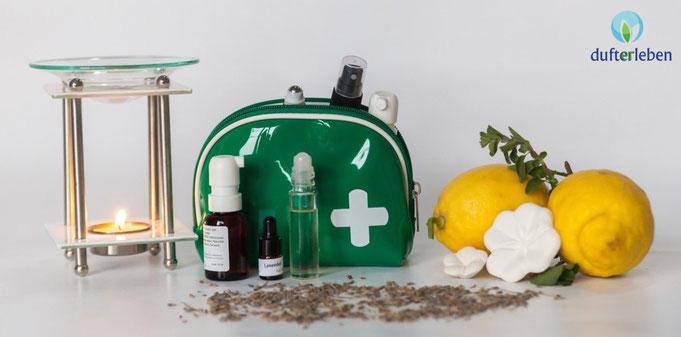 Aromatherapie Hausapotheke mit ätherischen Ölen, leicht gemacht für Einsteiger - auf www.dufterleben.ch
