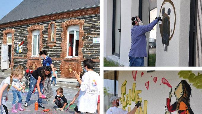 Enfants et artistes à l'école Saint Aubin du Pavail Chateaugiron