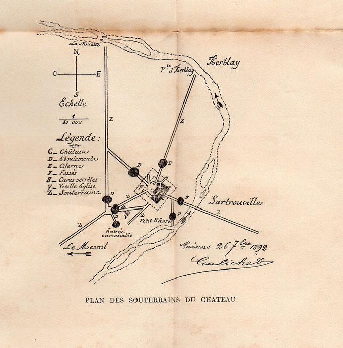 Les souterrains du château décrient en 1892 par L.Galichet