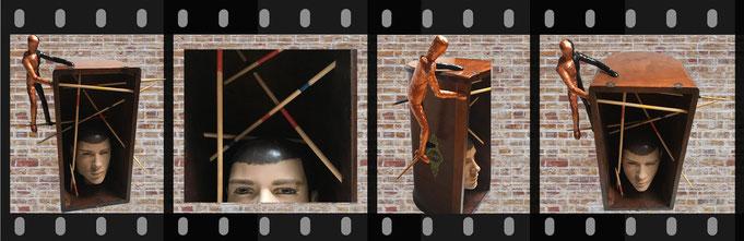"UpcyclingSkulptur ""B-Zellen-Mikado, eine Momentaufnahme"" Sabine Giese, Skulptur, UpCyclingKunst,"