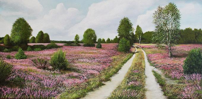 Heideblüte gemalt mit Acryl auf Leinwand von Mario Hannemann