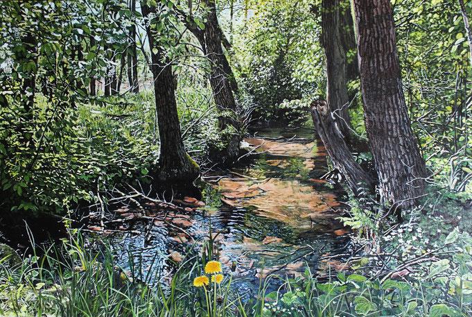 Am Bardenitzer Fließ (kossättenweg) gemalt mit Acryl auf Leinwand von Mario Hannemann