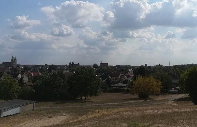 Blick auf Jüterbog vom Wasserturmberg aus.