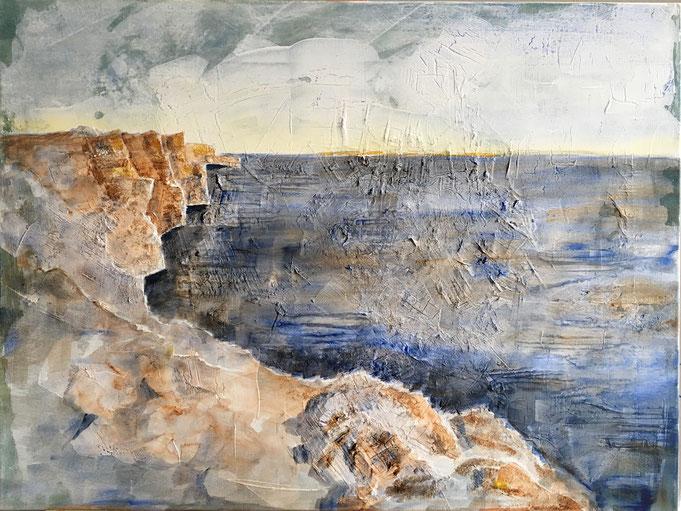 Küste -Umbra gebrannt/ Ultramarin, Acryl Mischtechnik auf Leinwand, 60 x 90, 2019