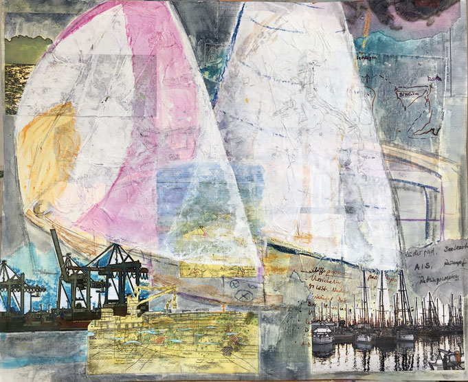 Hafenlandschaft, Kräne, Segel, Segelboote