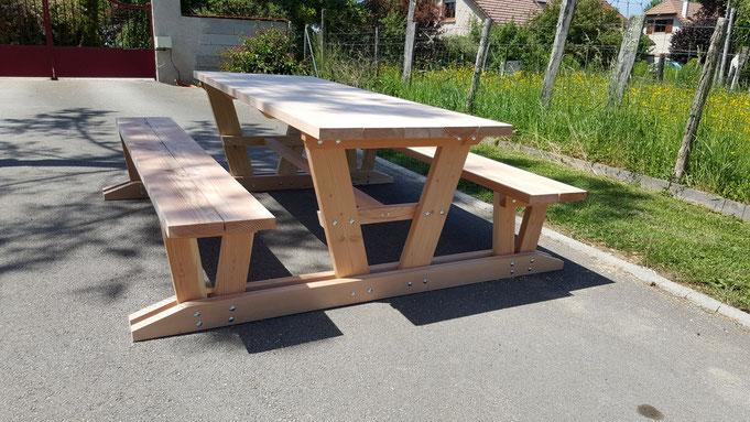Table Relax avec bancs attachés - table de jardin pas cher