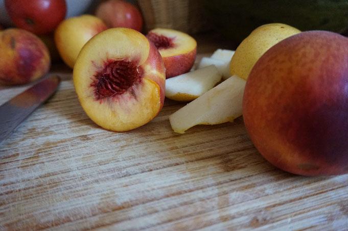 Pfirsich Smoothie mit Melone und Leinsamen  | frisch und lecker