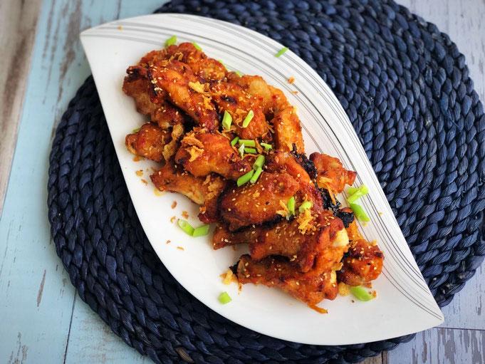 Suess saure Chicken wings-Marinade mit Roestzwiebeln und Honig