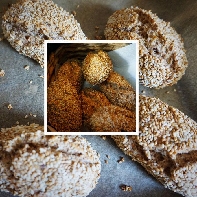 schnelle Sesam Broetchen | ohne gehen lassen | Alle Zutaten zu Hause