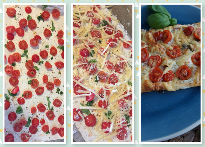 sommerliche Tomaten Tarte aus Blaetterteig l schnelle Tomaten-Basilikum-Tarte